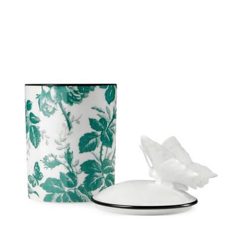 Herbosum饰腊叶印花和蝴蝶中号蜡烛
