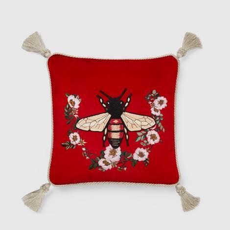 蜜蜂图案刺绣天鹅绒靠垫