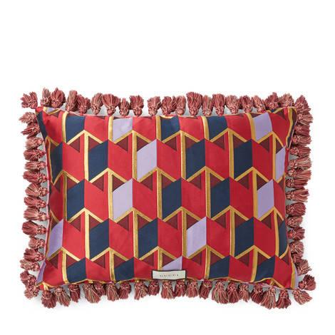气场猫图案刺绣天鹅绒靠垫