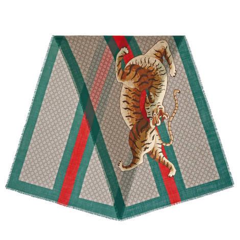老虎织带印花羊毛披肩