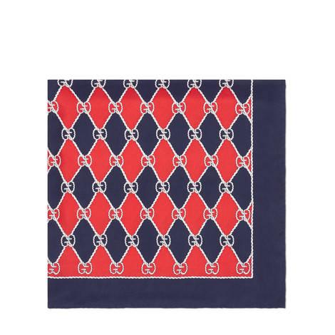 Gucci菱形印花真丝围巾