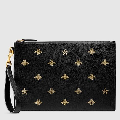 蜜蜂星星图案皮革手拿包