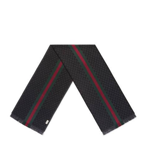 饰条纹织带GG 提花羊毛围巾