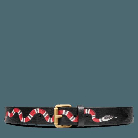 珊瑚蛇图案皮革腰带