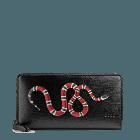 珊瑚蛇印花皮革全拉链式钱包