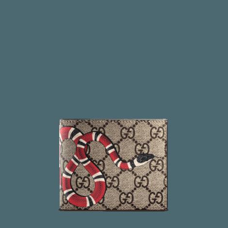 蛇形印花高级人造帆布钱包
