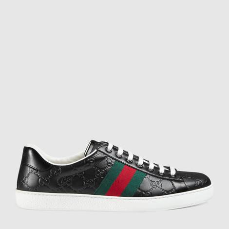 Ace系列Gucci Signature皮革运动鞋