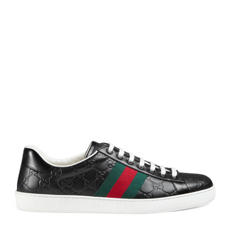 Ace系列Gucci Signature皮革运动鞋