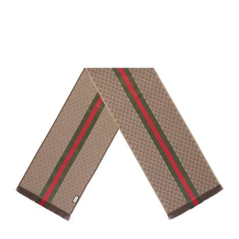 GG 提花饰条纹织带围巾