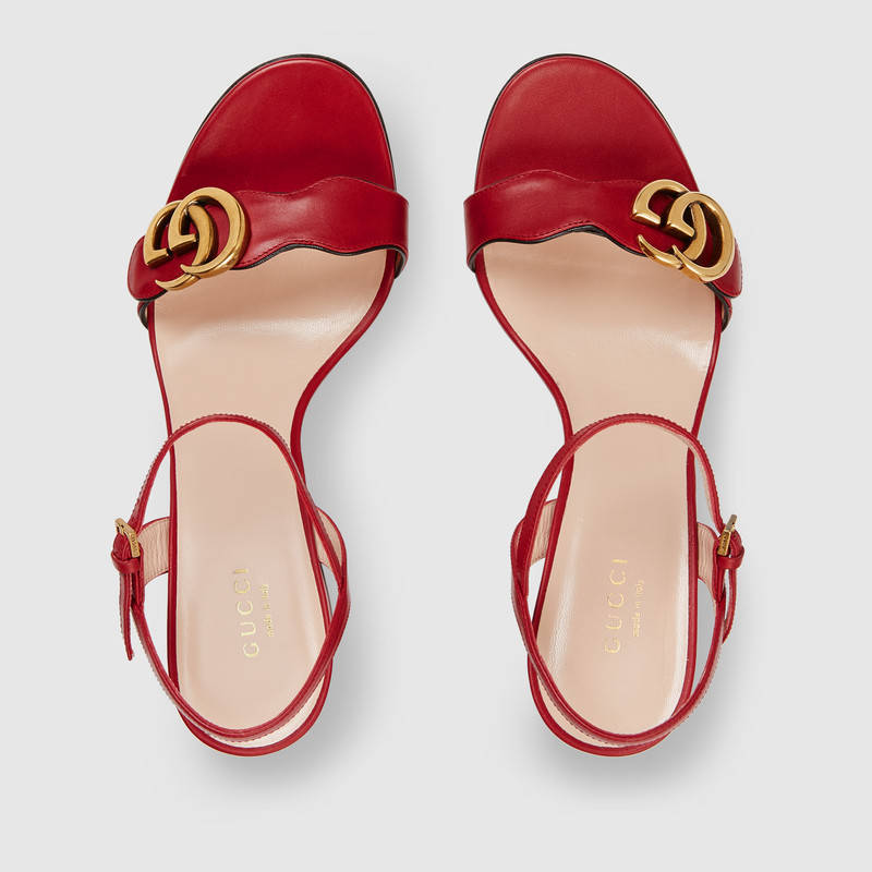 Gucci Marmont Logo-Embellished Leather Sandals In 6433 Red