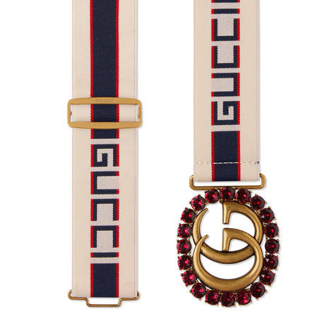 饰水晶双G和Gucci印花条纹织带腰带