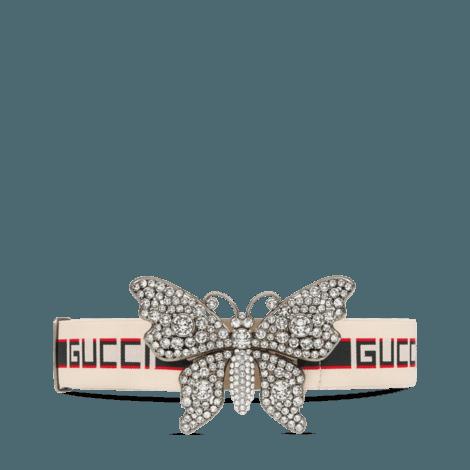 饰蝴蝶和Gucci印花条纹织带腰带