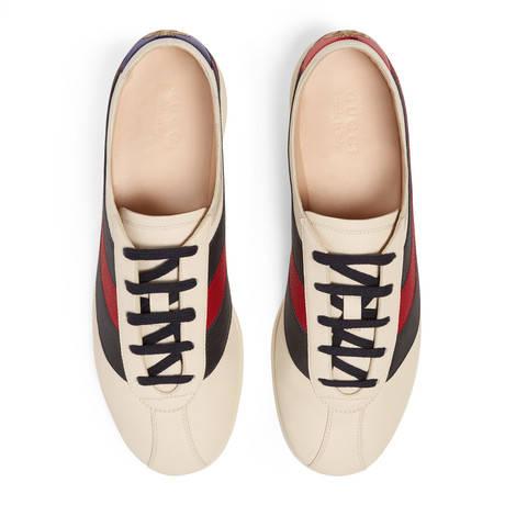 Falacer系列饰条纹织带皮革低帮运动鞋