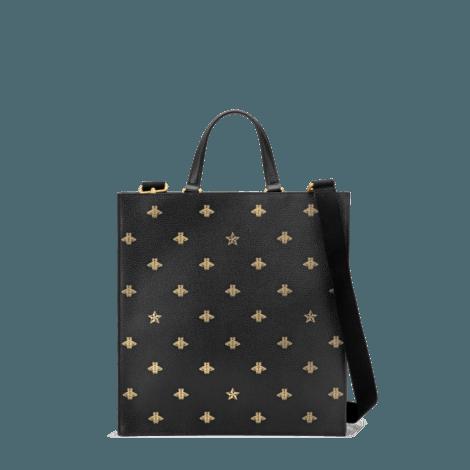 蜜蜂和星星图案皮革购物袋