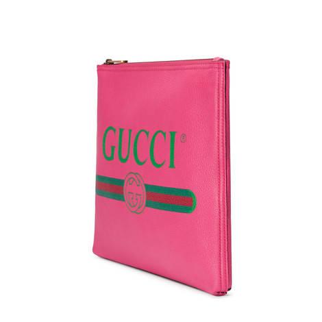 Gucci标识印花皮革中号手拿包