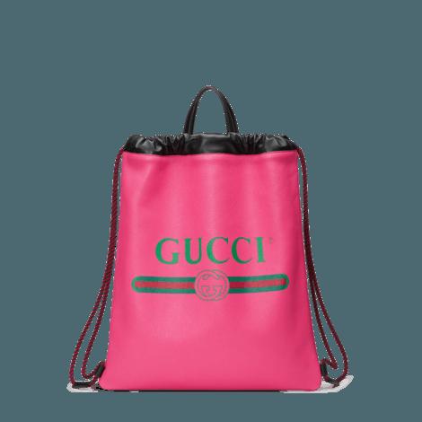 Gucci标识印花皮革抽绳背包