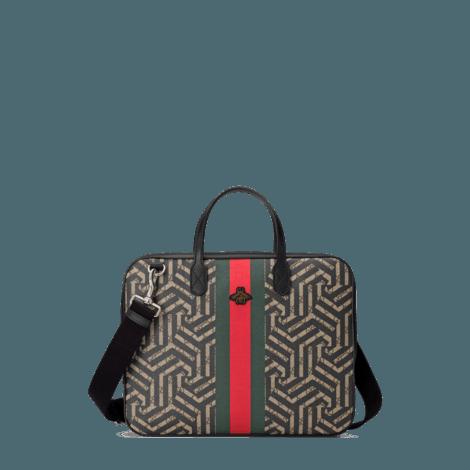 GG Caleido系列饰条纹织带中国专享款公文包