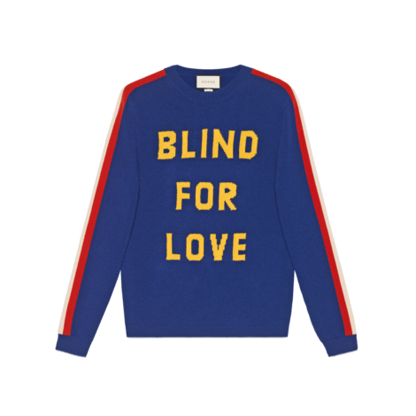 """Blind for Love""和老虎图案羊毛毛衣"
