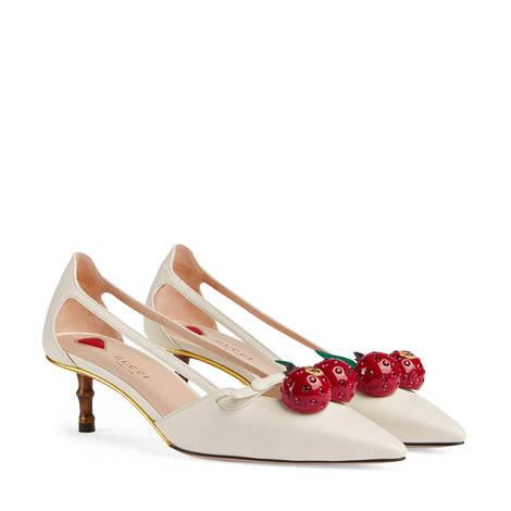 皮革樱桃装饰竹节跟鞋
