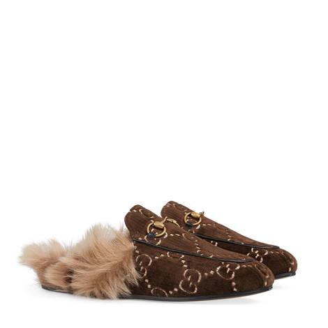 Princetown 系列GG天鹅绒拖鞋
