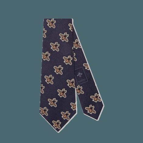 蜜蜂图案真丝领带