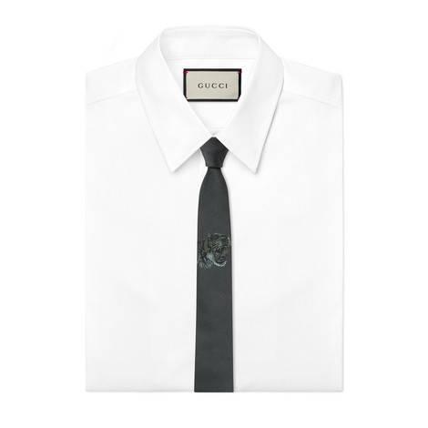 扭结下老虎图案真丝领带
