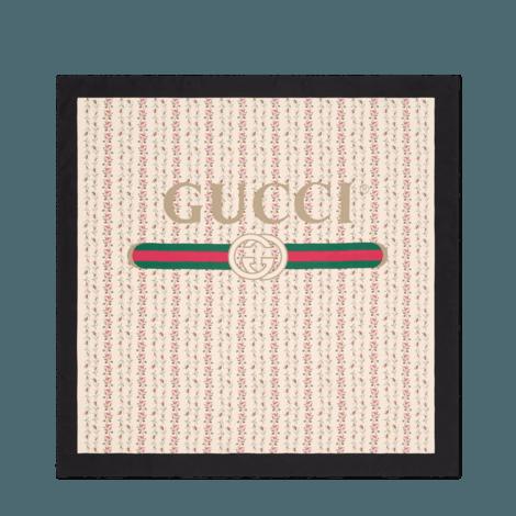 Gucci标识玫瑰印花真丝围巾