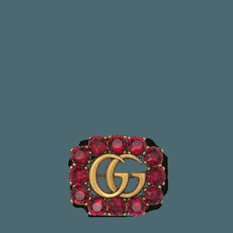 饰双G和水晶金属胸针