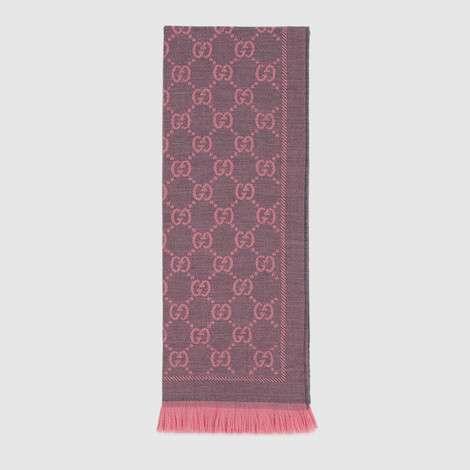 GG 提花图案针织羊毛围巾