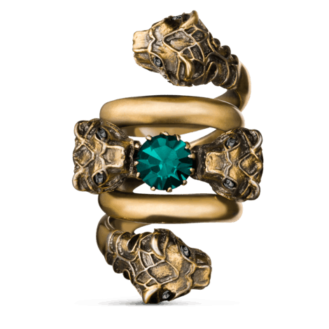 虎头装饰双绕设计戒指