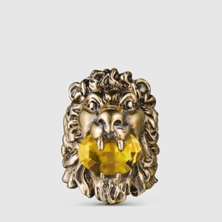 狮头戒指,配以施华洛世奇水晶
