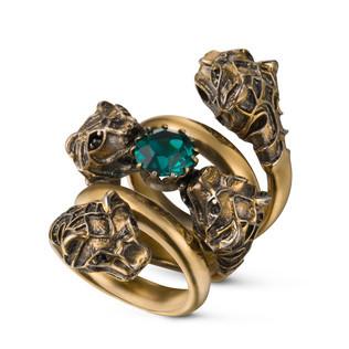 双绕设计戒指,配以虎头装饰