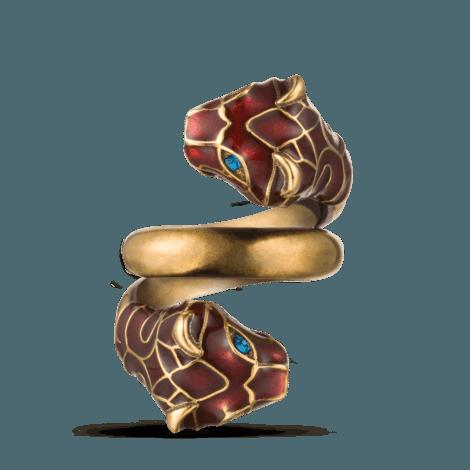 红色珐琅虎头戒指