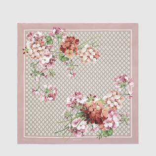 GG Blooms 印花真丝围巾