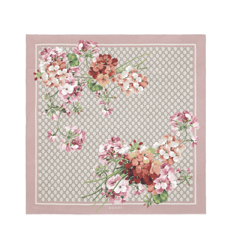 GG Blooms印花真丝围巾