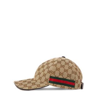 帆布GG面料棒球帽,饰以织带