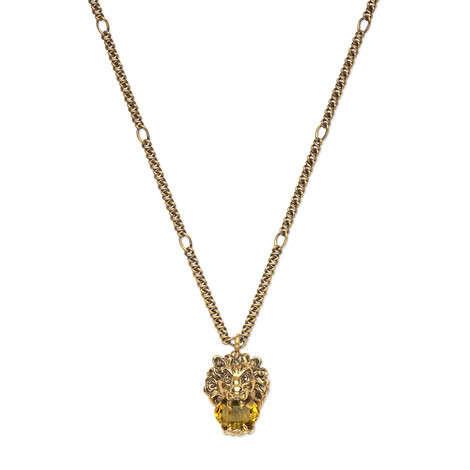 水晶装饰狮头吊坠项链