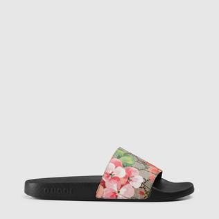 GG Blooms天竺葵印花高级人造革凉鞋