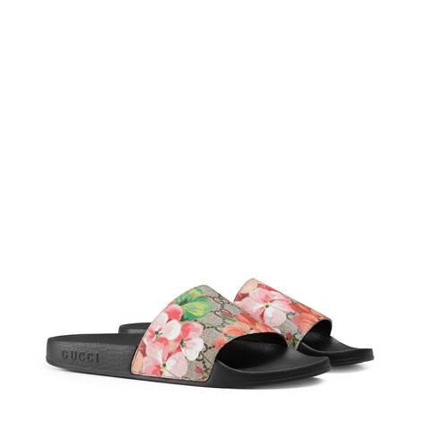 GG Blooms印花高级人造帆布拖鞋