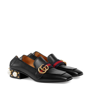 皮革中跟乐福鞋