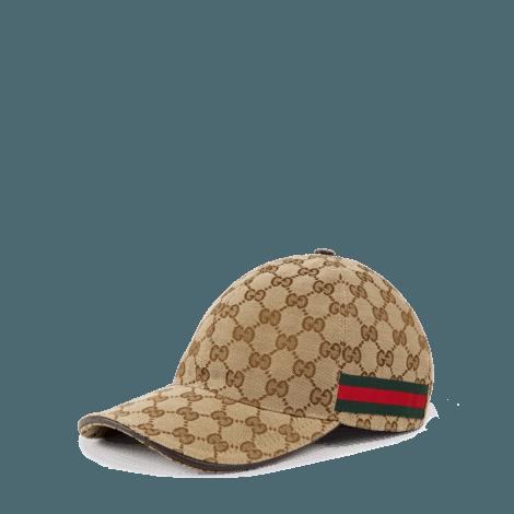 饰条纹织带GG帆布棒球帽