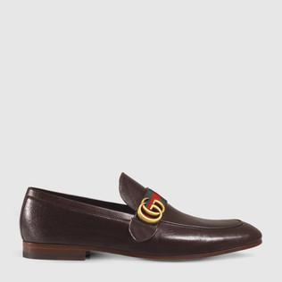 GG 织带装饰真皮乐福鞋