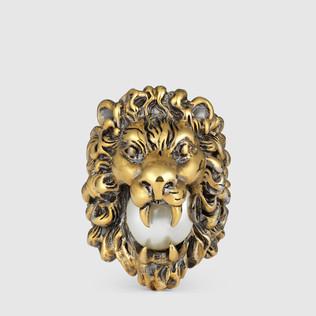 玻璃珍珠狮头戒指
