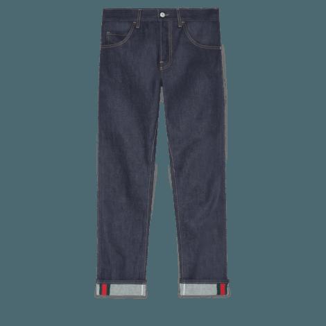 饰条纹织带锥形牛仔裤
