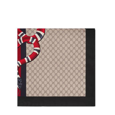 饰条纹织带和珊瑚蛇印花真丝围巾