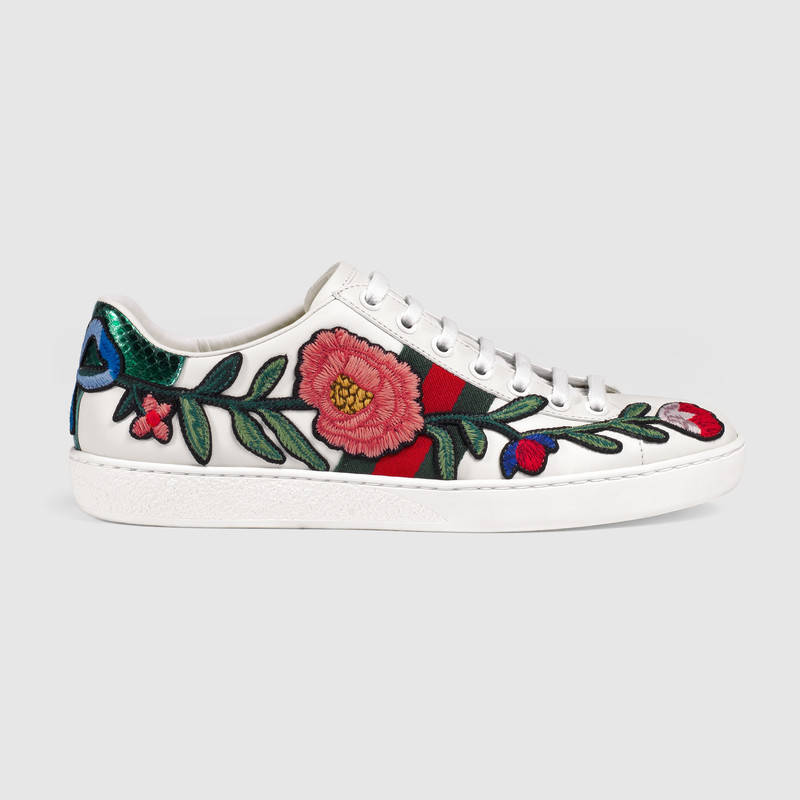 3a4fca03818b Gucci Ace Watersnake-Trimmed AppliquÉD Leather Sneakers In White ...