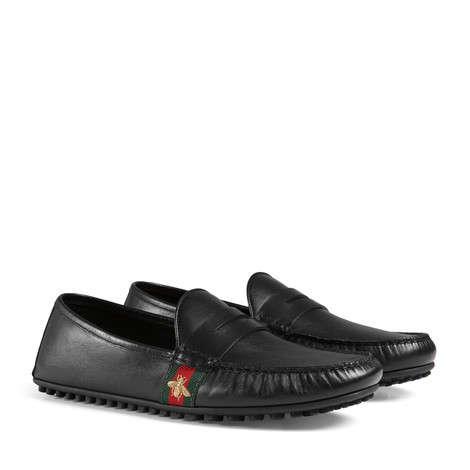 饰条纹织带和蜜蜂细节皮革驾车鞋
