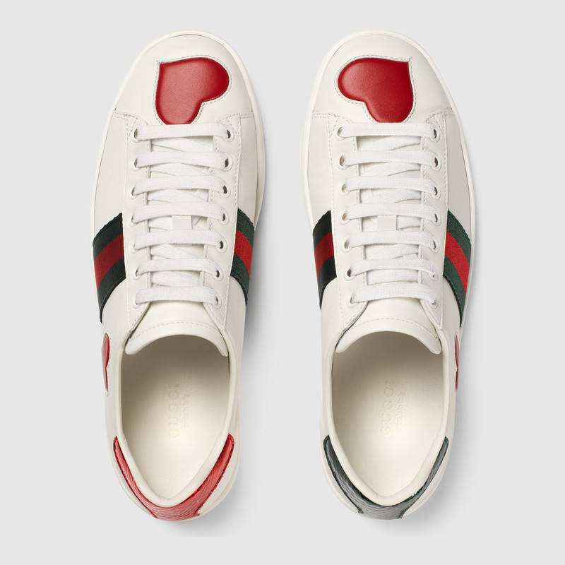 28e10e948413 Gucci Ace Snakeskin-Trimmed Leather Sneakers In White