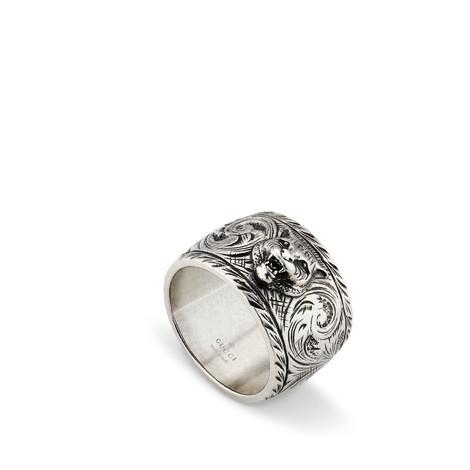 虎头宽边银戒指