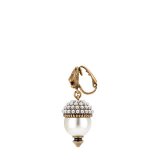 树脂珍珠装饰虎头耳环